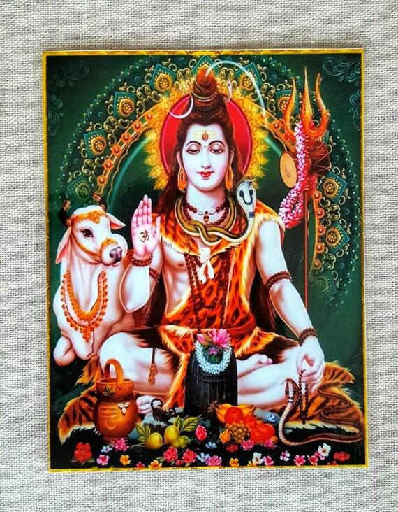 Shiva card, Lord Shiva, Hindu God, yoga, meditation card, Mahadeva card, mantra card, yantra card, altar card, prayer card, laminated card