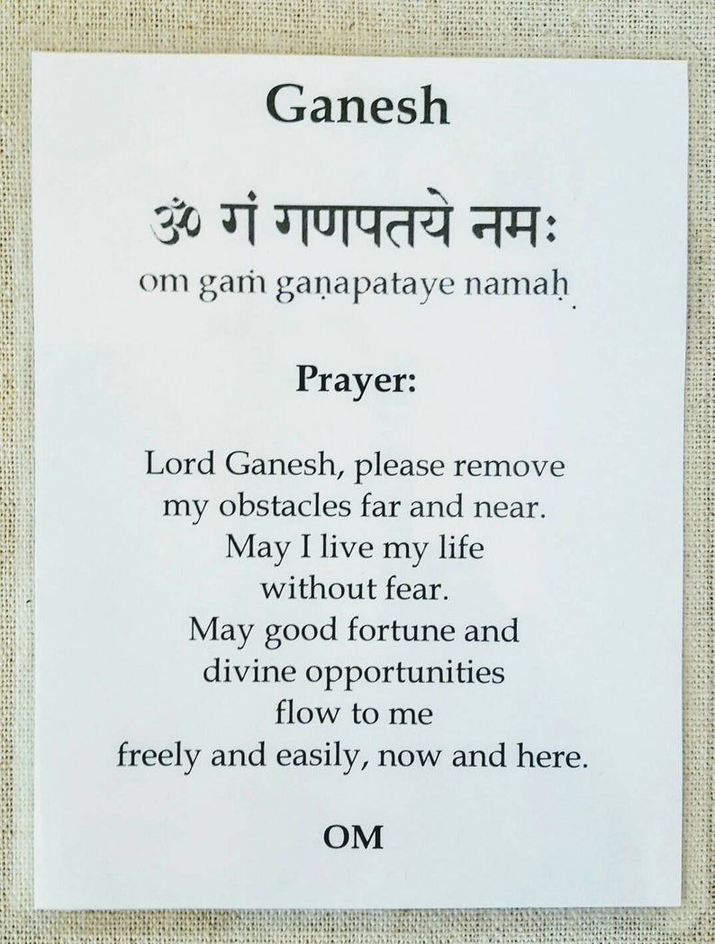 Ganesh card, Lord Ganesh, Hindu God, yoga, meditation card, good fortune,  abundance, altar card, prayer card, laminated card