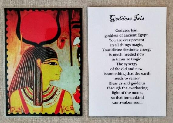 Goddess Isis card, goddess card, Egyptian goddess, goddess of health,  wisdom, nature, magic, altar card, prayer card, laminated card