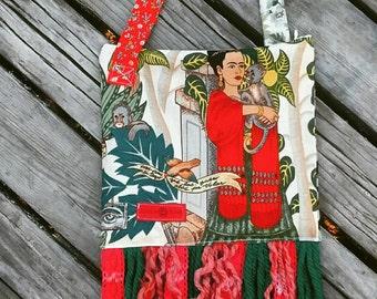 Frida and monkeys, zipper purse with fringe. Made in Fayetteville Arkansas.