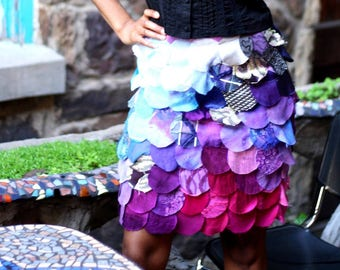 S. Silk petal skirt with hand cut petals in shades of pink and purple. Dreamy to the max.
