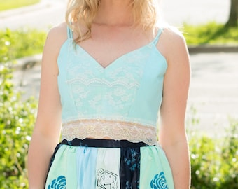 S. Light Blue Crop Top with V neck and V back. Lace trim. Size small womens.