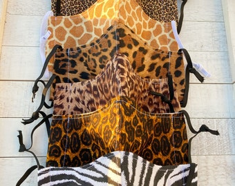 Animal print Face mask, adult child face covering, 3 layer washable cotton, adjustable elastic, work, travel, school, leopard zebra cheetah