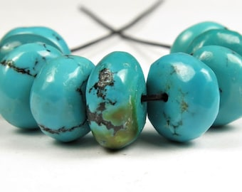 1f3d679a5 Natural Genuine Hu-Bei Turquoise Smooth Thick Rondelle Beads - 9.5~10.5 mm  (diameter) - 9 beads - C1474