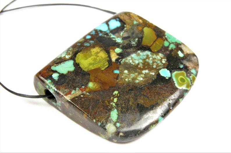 37mm x 40mm C0206 Reconstituted But So Beautiful ~ Natural Genuine Hu-Bei Turquoise Pendant