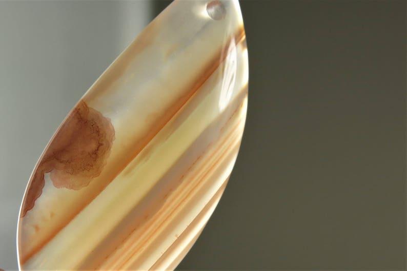 Sweet ~  Brazilian Chalcedony Banding Agate Pendant B7797 46mm x 20mm x 6.3mm