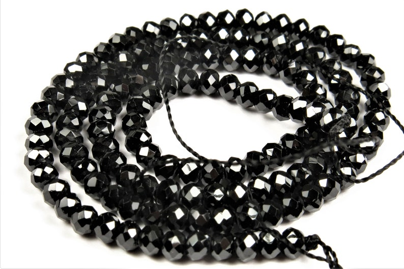 Rare /& Precious ~ Premium Quality Black Spinel Faceted Small Rondelle Bead 3.8 x 2.8 mm C1561 15.5 Strand