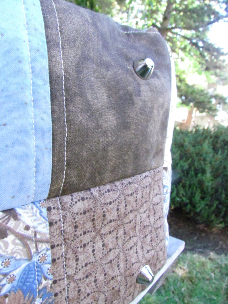 Big Bag Blue and Brown Quilted Handbag Diaper Bag Fabric Purse Quilts Oversize Bag