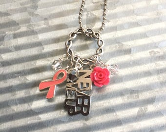 Breast Cancer Charm Necklace, Simple