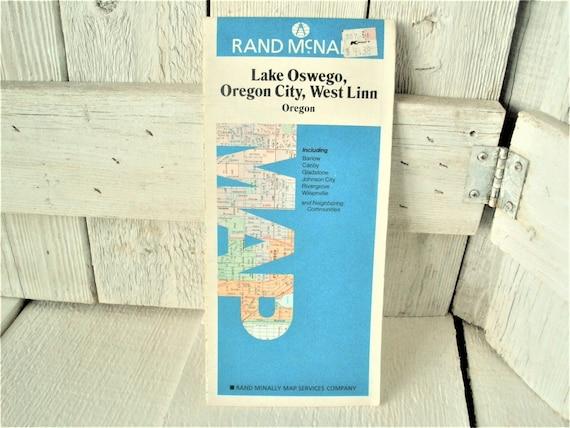 Vintage Lake Oswego Oregon Map Travel City Roads Folding Etsy