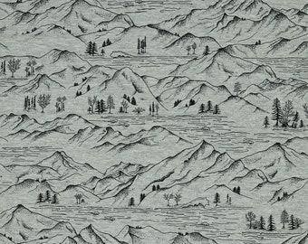 Jersey | printed | mountains | grey melange