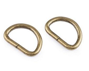 2 x D-Ring   25 mm   old brass