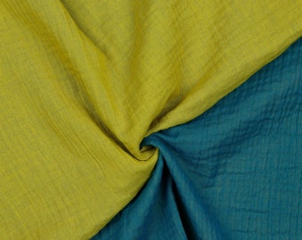 Cotton | double gauze / Muslin | double-sided | mustard / petrol