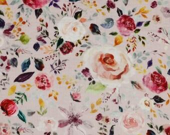 Cotton | double gauze/Musselin | watercolor flowers | bright pink