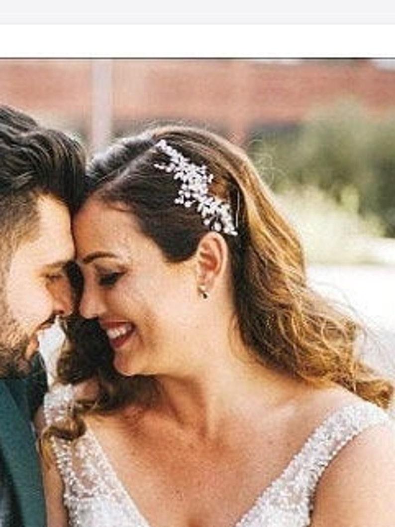 Bridal hair accessories,bridal hair piece bridal hair comb wedding hair piece bridal headpiece silver hair comb hair vine crystal hair comb