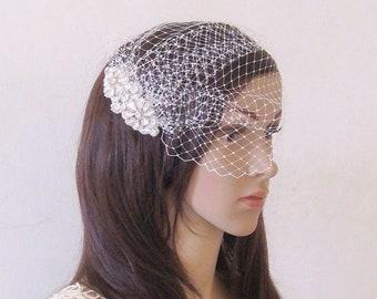 Wedding veil, bridal veil, Ivory veil, blusher veil, birdcage veil with comb
