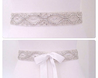 "Sash wedding diamond bridal belt crystal bridal sash rhinestone bridal sash wedding belt,- ""kyle"