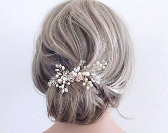Wedding hair accessories Bridal hair comb clip bridal hair piece headband headpiece wedding hair piece gold pearl hair comb vine crystal