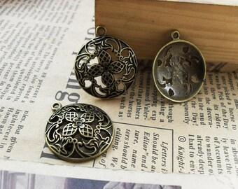10pcs 23x26mm The Circular Antique Bronze Retro Pendant Charm For Jewelry Bracelet Necklace Charms Pendants C669
