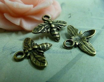 50pcs 12x15mm The Bee Antique Bronze Retro Pendant Charm For Jewelry /Pendant