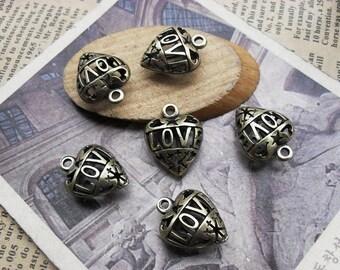 6pcs 8x15x19mm The Love Antique Bronze Retro Pendant Charm For Jewelry Bracelet Necklace Charms Pendants C5407