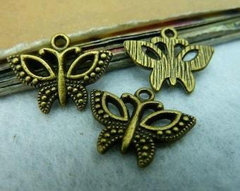 20pcs 15x20mm The Butterflies Antique Bronze Retro Pendant Charm For Jewelry Bracelet Necklace Charms Pendants C3154