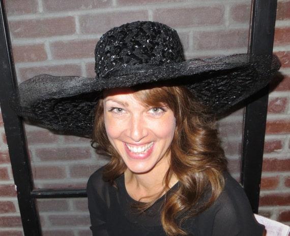 Black Hat Large Hat Womens Hat Woven Hat Sun Hat M