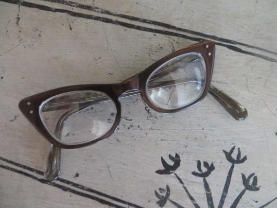 Vintage Cat Eye Glasses Tortuiose Glasses Brown Gl