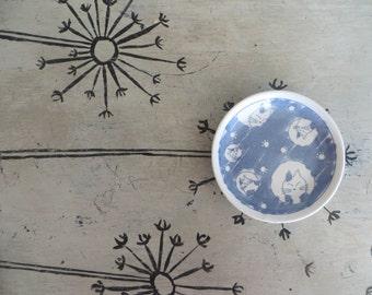 Darling Ceramic Cat Dish Whimsical Pottery Cats Blue and White Kitten Dish Ring Dish Trinket Dish Pottery Dish