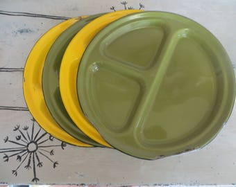 Vintage Enamelware Divided Plates Green and Yellow Enamel Plate