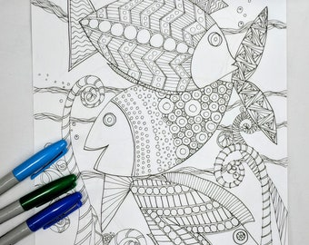 Three Fishies Coloring Page Digital Download, Zntangle, ZIA