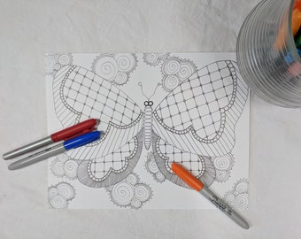 Butterfly Digital Download ZIA Zentangle Coloring Page