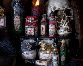 Dark Fairy Potion Bottles for Halloween Decor Witchcore Aesthetic, Wizard Potions, Witch Potions, Halloween Decorations, Magic Potions