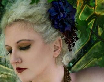 Fall Flower Fasciantor, Autumn Fairy Hair Clip, Fairy Costume, Woodland Wedding, Hand Fasting, Purple Flower Hair Clip, LARP, Fairy Wedding