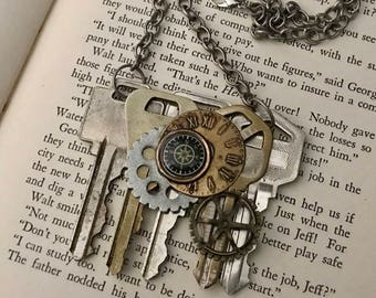 Steampunk Key Necklace- Steampunk Key Jewelry- Steampunk Gear Necklace- Steampunk Assemblage Necklace- Steampunk Gear Jewelry- Steam Punk