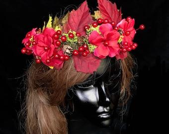 Fall Flower Head Wreath- Fall Wedding Head Wreath- Fairy Costume- Autumn Fairy- Woodland Wedding Crown- Fairy Crown- Autumn Crown- Mabon