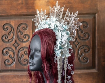Spiked Icicle Headdress for Snow Queen, Ice Queen, Snow Fairy Costume, Winter Festival, Winter Wedding, Hand Fasting, Snowflake Crown, Ice