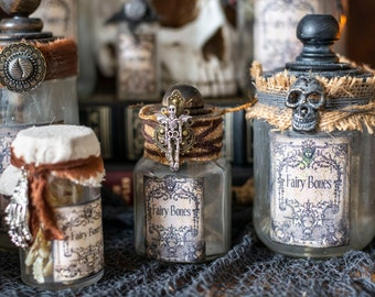 Upcycled Glass Potion Bottles, Fairy Bones Halloween Potion Bottles for Halloween Decor, Witch Decor, Props