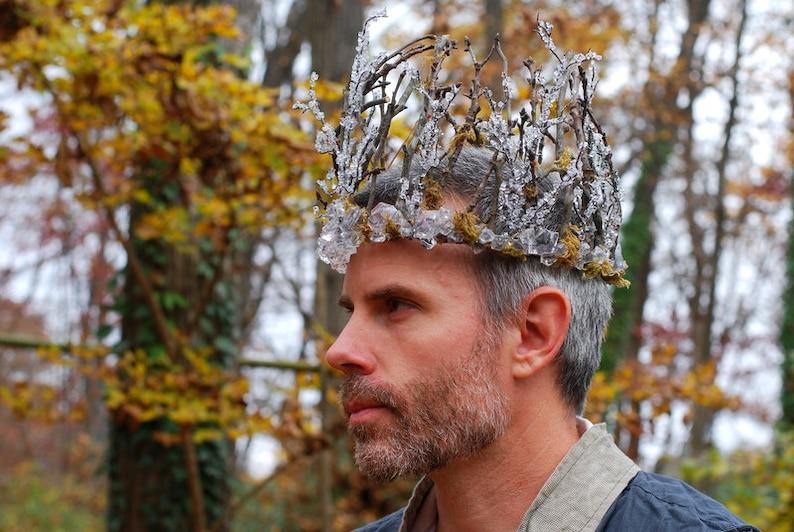 Winter Wedding Crown for Men Mens Winter Ice Crown Mens image 0