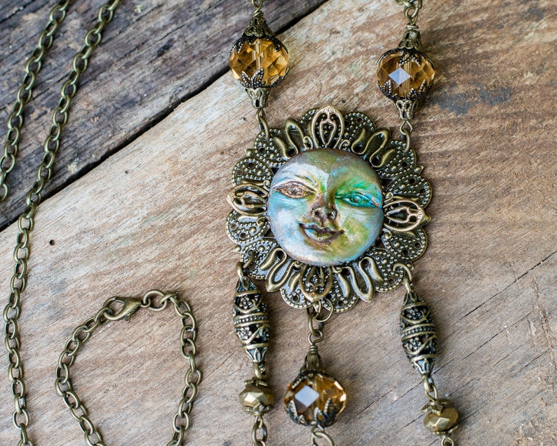 Art Necklace and Earring Set Celestial Necklace Art Jewelry image 0