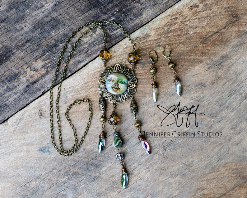 Wearable Art Necklace and Earring Set Celestial Necklace Art image 0