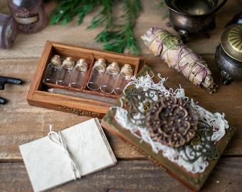 Specimen Apothecary Bottle Set, Nature Collection Jars, Apothecary Box, DIY Herb Bottles, DIY Potion Making Kit, Nature Study Kit, Earth Box