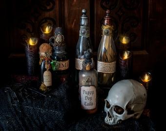 Magic Potion Bottle Set, Movie Inspired Potion Bottles, Goblincore, Altered Bottle, Halloween Potion Bottles, Goblin Potion Bottle