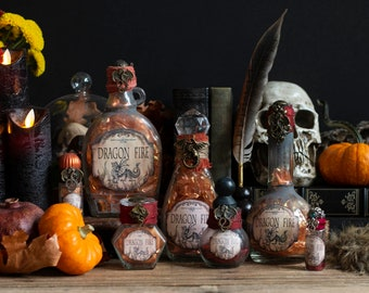 Red Dragon Fire Potion Bottles, Altered Art Potion Bottles, Halloween Decor, Altered Glass Bottle, Wizard Potion, Halloween Party