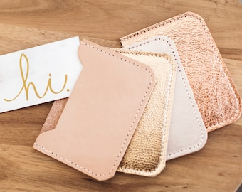 LEATHER Card Case. Credit Card Case. Metallic Leather Wallet. Card Holder. Leather Wallet. Rose Gold Wallet