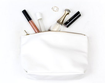 REBECCA Rose gold makeup bag. Rose Gold Leather Clutch. Leather Makeup Bag. Leather Pouch. Leather Make up Bag. Leather Cosmetic Bag.