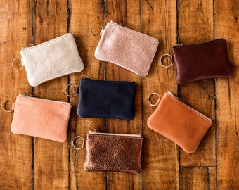 Leather Keychain Pouch. Keychain Wallet. Leather pouch with keychain. Change Purse. Coin Purse.