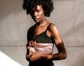 JANE Rose gold Leather Clutch. Metallic Rose gold Leather Cosmetic Bag . Rosegold Leather Pouch. Metallic Makeup Bag