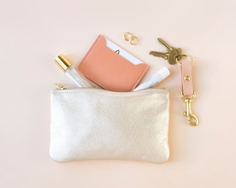 MAE Champagne Leather Clutch. Light Gold Leather Pouch. Light Gold Leather Wallet. Small Light Gold Pouch. Bridesmaid Clutch