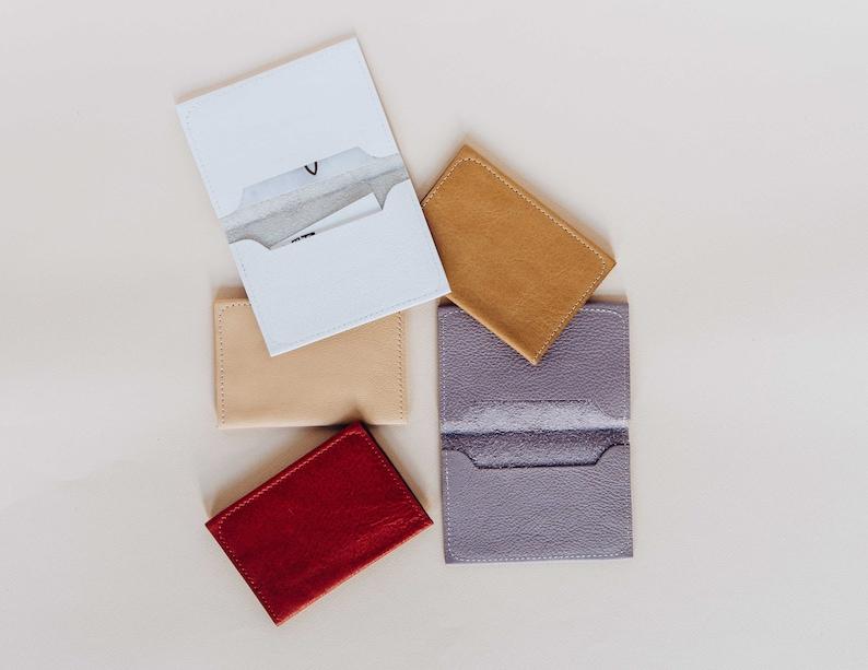 07842a79ecc5 SALE. Leather Wallet. Leather Card Case. Metallic Wallet.   Etsy